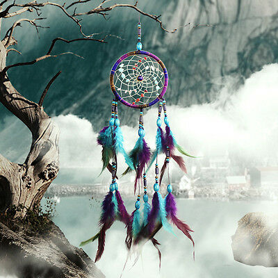 Blue Dream Catcher With feathers Wall Hanging Decoration Ornament Gift Shell