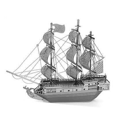 3D Pirate Ship Model Steel Puzzle Jigsaw DIY Miniature Toy Laser Cut Sea Rover