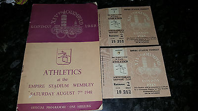 1948 London Olympics Athletics Programme and 2 Tickets