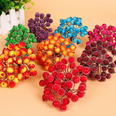 40*Christmas Xmas Artificial Frosted Berries Festival Home Props Home Decor