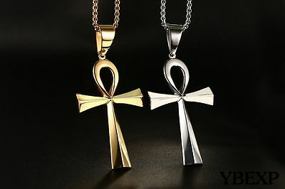 """24""""Stainless Steel Gold Silver Egyptian Ankh Cross Key of Life Pendant Necklace"""