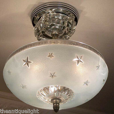 329 Vintage 40s Ceiling Light Lamp Fixture Glass  Re-Wired STARS  nautical blue