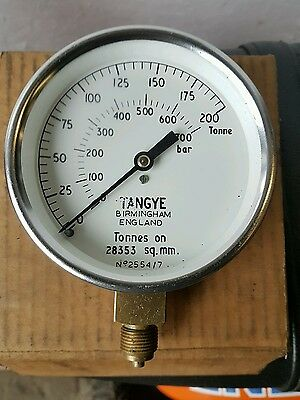 """NEW OLD STOCK Chrome faced PRESSURE GAUGE RETRO STEAMPUNK 4"""" FACE."""