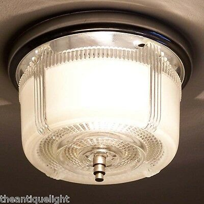 820 Vintage 40s 50s CEILING LIGHT lamp fixture glass shade bath hall