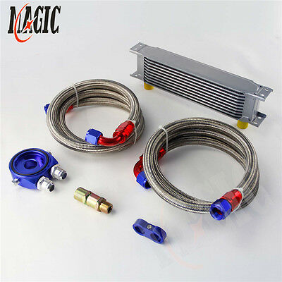 10 Row An-10An Universal Engine Transmission Oil Cooler+ Filter Kit Blue