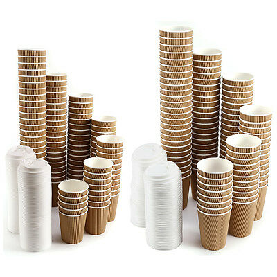 100 Insulated Ripple Hot Drinks Paper Cups Coffee Disposable Lids
