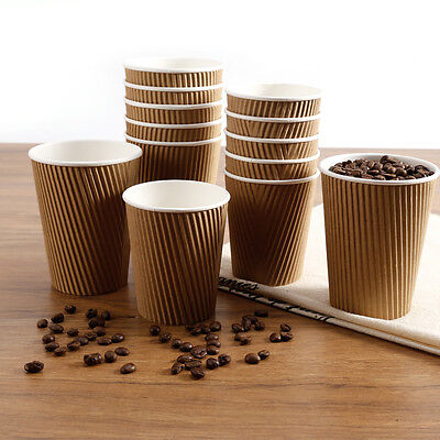 Insulated Hot Drinks Paper Cups Soup Coffee Tea Disposable And Sip Lids 100PCS