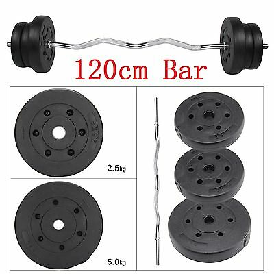 25KG Barbell Set Weight Training Lifting Gym Fitness Dumbbells Curl Bar Workout