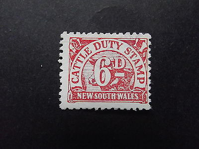 NEW SOUTH WALES 6d RED CATTLE DUTY STAMP - USED