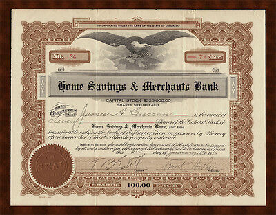 1924 DENVER COLORADO Home Savings & Merchants Bank Stock Certificate #34