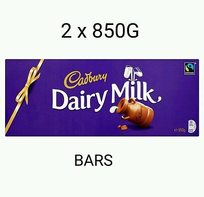 2 × Cadburys 850G Huge Original Dairy Milk Chocolate  Bars Boxed And Wrapped