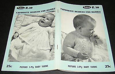 Vintage Knitting Pattern Baby Book Patons R30 Cardigan Jackets Frock Coats 3 Ply