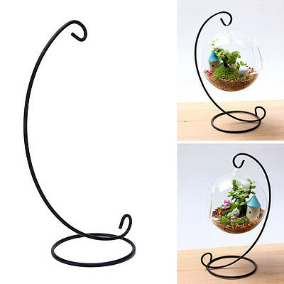 33cm Black Iron Plant Stand Holder for Clear Glass Hanging Vase Home Decor