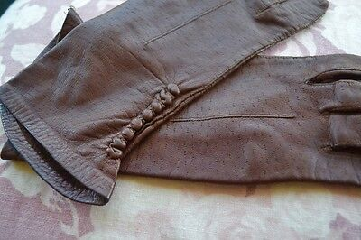 ladies 'DENTS' brown vintage leather gloves with lovely detail - size 7 VGC
