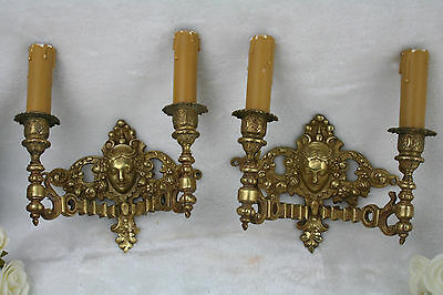 Pair French Bronze brass putti cherub angel heads wall sconces lights 1930