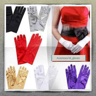 New Short Opera Black Red and White Satin gloves Party/Magician/Driving