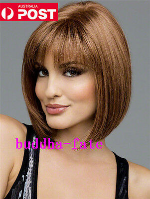 AU Clearance Ladies Straight Brown Hair Full Wig Party Daily Bob Wigs Fashion