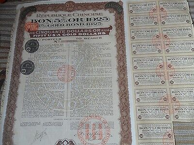 A GENUINE  Chinese 5% Bond of 50 U.S.A. Gold Dollars uncancelled and 18 coupons