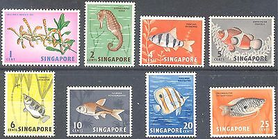 SINGAPORE 1962 Orchid Fish Values to 25c (8) Mint