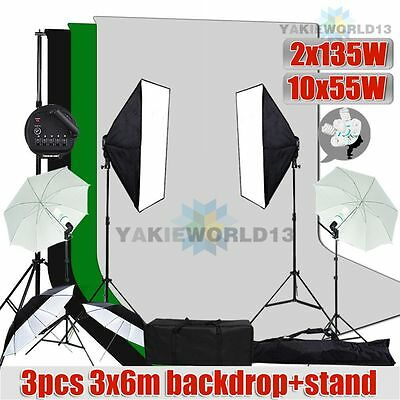 4100W Studio Softbox Umbrella Continuous Lighting 3x6m Muslin Backdrop Stand Kit