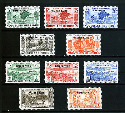 FRENCH NEW HEBRIDES 1953 &1957 POSTAGE DUE SETS TO 1Fr MOUNTED MINT: See Scan