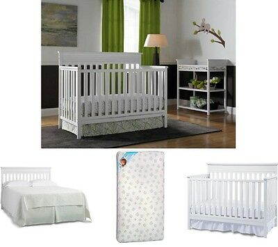 Baby Nursery Furniture Set White 4-in-1 Convertible Crib and Mattress Wood Frame