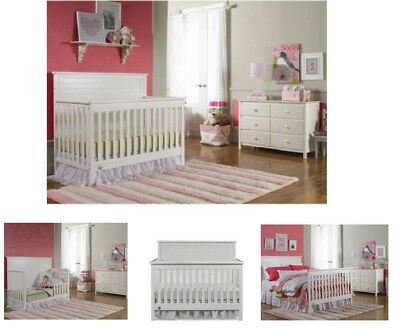 Baby Nursery Furniture Set 4-In1 Convertible Crib White Wood Durable Toddler Bed