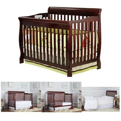 Baby Nursery Furniture Set Convertible 5-In-1 Fixed-Side Crib Cherry Toddler Bed