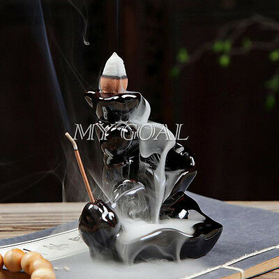 Black Backflow Incense Burner Porcelain Censer Buddhist Ceramic Cones Holder UK