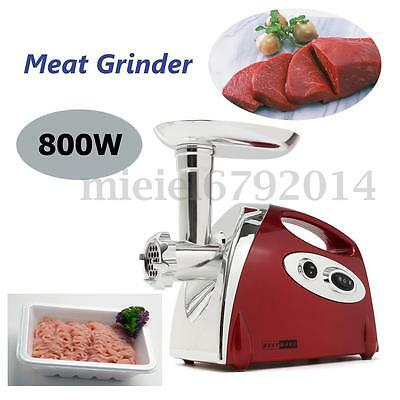 800W Electric Meat Grinder Sausage Maker Stuffer Machine Stainless Steel 3 Speed