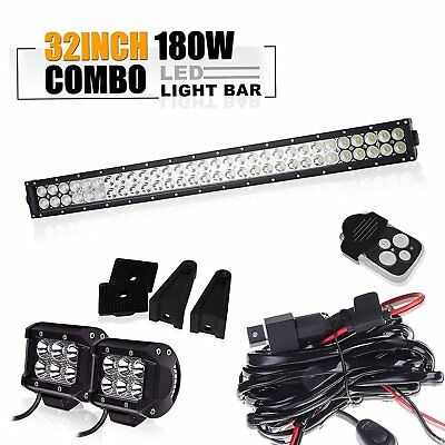 "32"" inch 180W Led Light Bar Curved Spot Flood Toyota Truck ATV Jeep Offroad 4WD"
