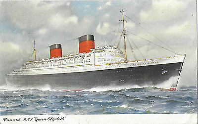 R.m.s. Queen Elizabeth Paquebot Posted Southampton At Sea 1954