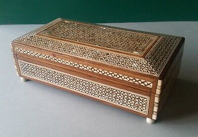 Antique Premium Quality Orient-Syrian Handmade Mosaic Inlay Wood Jewelry box