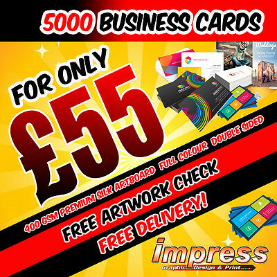 5000 Business Cards - Double Sided - 400gsm Premium Silk Artboard - Full Colour