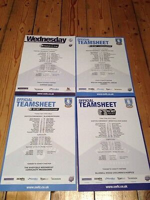 4 Official Sheffield Wednesday Teamsheets Season 2015-16