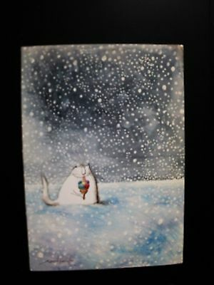 Signed Ronald Searle Christmas Card Autograph 1987