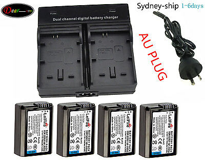 AUship 4xNP-FW50 Battery+Dual for Sony A7 II A7R A7S ILCE-6000 ILCE-7 ILCE-5100