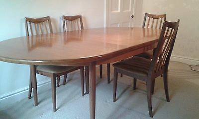 Vintage G-Plan (Gomme) teak dining table and 6 chairs (seats up to 10).
