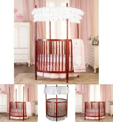 Baby Nursery Furniture Set White Stylish Circular Crib Wood Frame Canopy Toddler