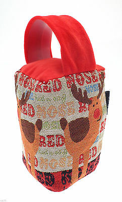 Traditional Tapestry Door Stop Rudolph Red Nosed Reindeer Design gift for home