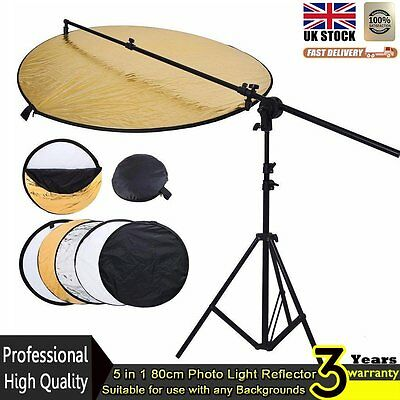 5-in-1 80cm Studio Reflector Light Stand Collapsible Reflector Holder ArmBoom