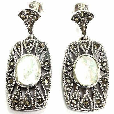 Sterling Silver 925 Art Deco style Mother of Pearl marcasite Earrings