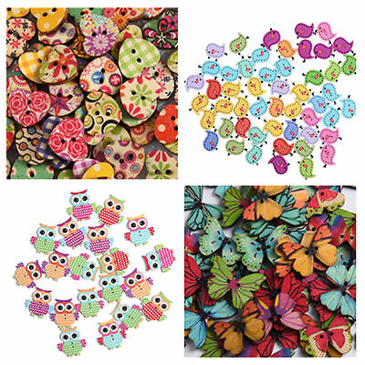 20/50/100pcs Sewing Wood Buttons Flatbacks Scrapbooking Craft DIY Buttons