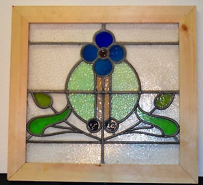 Stunning Antique Art Nouveau Leaded Stained Glass Window Re-Framed