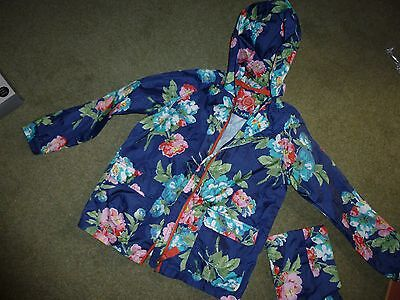 Girls Joules Lightweight Raincoat 9/10Yrs Floral With Bag