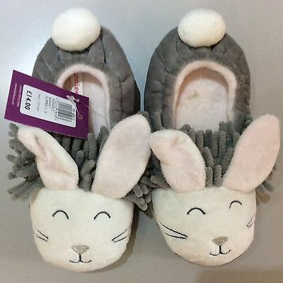 John Lewis Children's Noodle Bunny Slippers, Grey size 13