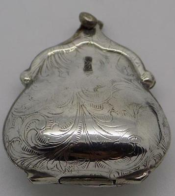 Vintage Solid Silver Purse Shaped Pill / Snuff / Trinket Box - Tested - Italian