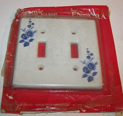 Vintage Ceramic Double Switch Plate Cover White Dish FLOWER DESIGN NOS