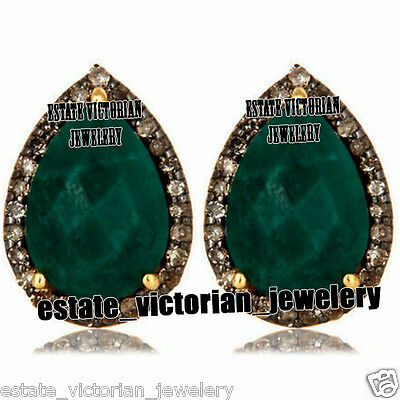 Vintage 1.42Cts Rose Cut Diamond Emerald Jewelry Sterling Silver Earring Studs