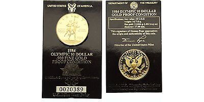 USA, 10 Dollar 1984 W, Westpoint, Olympia in Los Angeles, KM 211, GOLD! PP